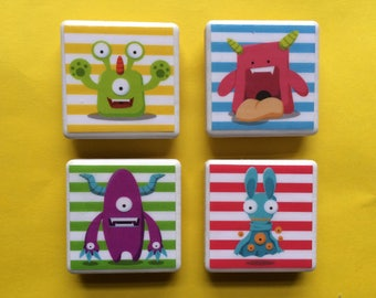 Monster magnets, fridge magnets, children magnets, kid magnets, fun magnets, monsters, fun monsters