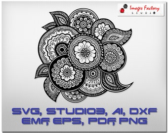 Zentangle Figure mandala files - cuttable Cricut Design Space, Silhouette Digital Cut Files, Instant Download, svg dxf studio3 doodle tribal