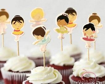 24 piece ballerina cupcake toppers ,ballet cupcake toppers,bailarina cupcake topperS