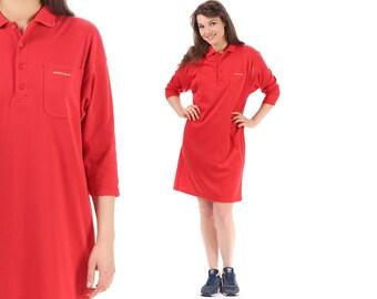 Red Polo Dress 90s Mini Vintage Half Button Up Short Sleeve Red  tee Dress Slouch Beach Wear Pocket Shirtdress Tennis Mini Cotton Medium