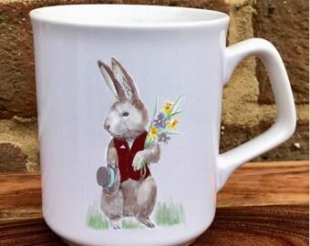 Rabbit mug, Bunny mug personalised with any words or name , China mug, Boxed , Easter Gift, hand printed, Rabbit, Bunny gift
