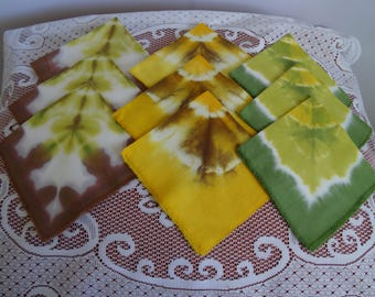 Set of 9 Cotton Napkins /  Abstract Drawing Pads / Table Serving Napkins