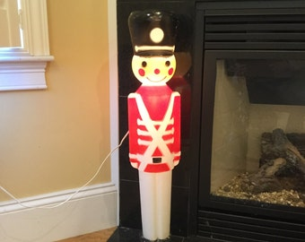Lighted Retro Plastic Toy Soldier Lawn Statue / Ornament