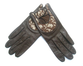 CHRISTIAN DIOR Chic Brown Leather Driving Gloves c 1970s