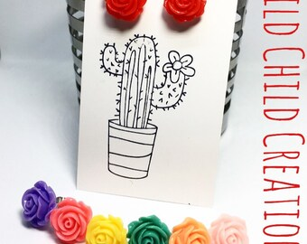 SALE Rosie, Rose Earrings Studs, Rose Earrings, Cute Rose Earring, Rose Studs, Pinup Earrings, Rockabilly Earrings, Pinup Style