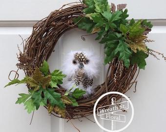 Small Wreath, 10 inch Grapevine Wreath, Owl Wreath, Door Wreath, Wall Wreath, Window Wreath, Northwoods Wreath, Wreath Street Floral