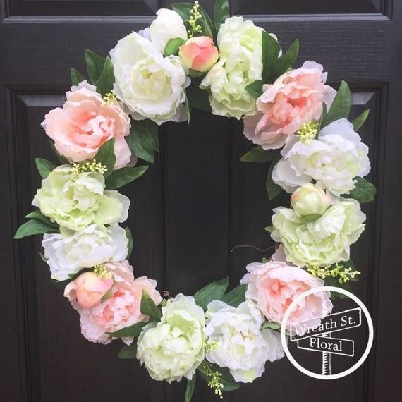 Peony Wreath, Everyday Wreath, Summer Wreath, Front Door Wreath, Grapevine Wreath, Wreath Street Floral, Peach Wreath, Green Wreath
