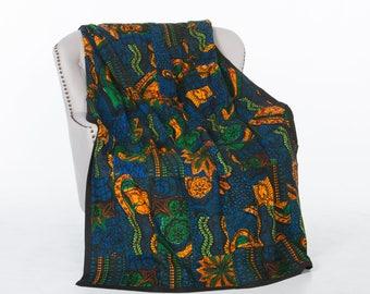 Quilt-African Wax Quilt-Kitenge Quilt-Patchwork Quilt-Handmade Quilt-Lightweight Quilt-Queen Size Quilt-Fair Trade-Midnight Sun