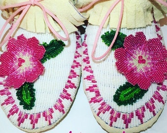 Native American 3D Flower Moccasins Custom Order