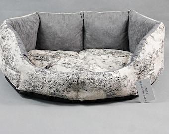 Pet bed, Black & white pet bed, cozy pet bedding, cat bed, dog bed