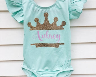 girls and toddler princess crown leotard dance gymnast gymnastics dancewear personalized glitter custom christmas gift for girls toddler