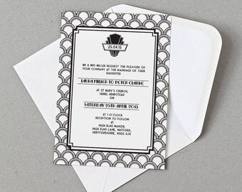 Art Deco Wedding Invite, RSVP, Information card Personalised