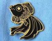 Sad Fish Hard Enamel Pin - Gold and Black - Lapel Pin Cloisonné Badge - Goldfish Black Telescope, Mermaid Pin