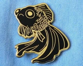 Sad Fish Hard Enamel Pin - Gold and Black - Lapel Pin Cloisonné Badge - Goldfish Black Telescope