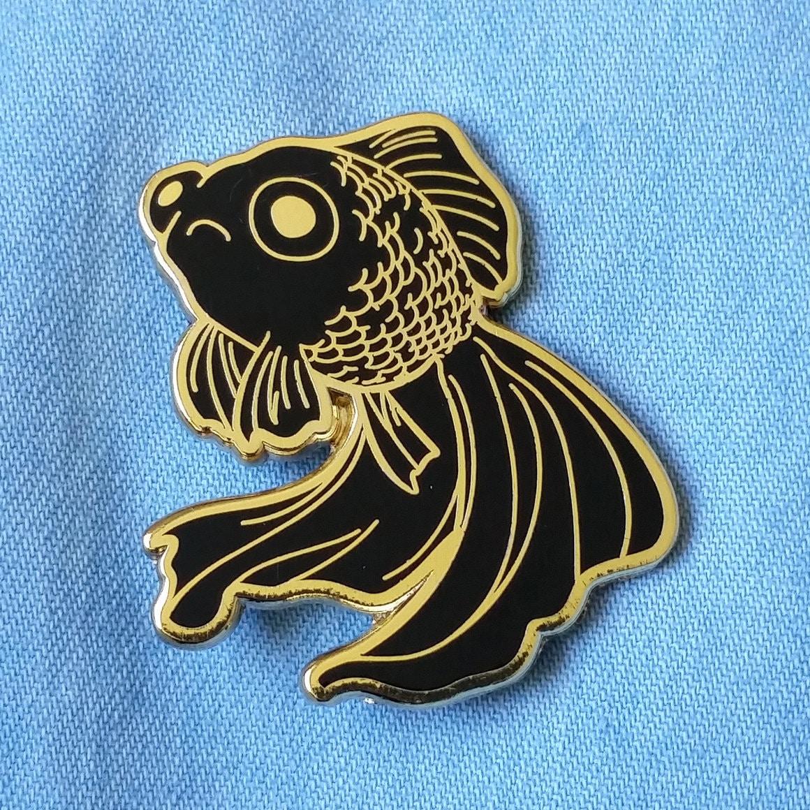 Sad Fish Hard Enamel Pin Gold and Black Lapel Pin