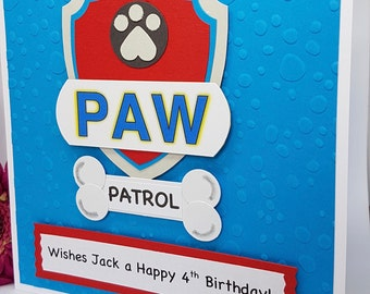 Personalised Paw Patrol Birthday Card Handmade Kids BD60