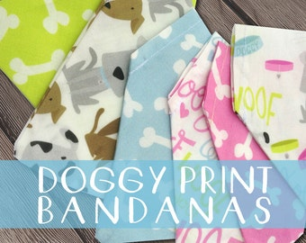 SALE, Handmade Dog Bandanas, Doggy Print, Dog Neckerchief, Dog Fashion, Dog Accessories, Dog Days Fabric Collection