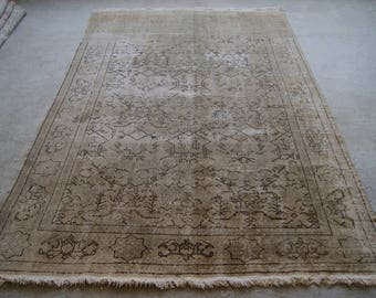 6'11''x10'6'' Large Area Rug, Turkish Distressed Rug, Faded Patterns, Anatolian Symbols, Oushak Rug