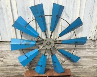 "Wall Windmill made from Drim Metal, Rustic, Industrial, Recycled Metal Wall Windmill, 36""-Blue"