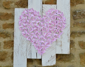 Upcycled 3d butterfly wall art/paper art/pink/shabby chic white/upcycled art/recycled pallets/custom made/room decor/birthday/anniversary