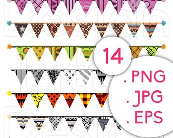 80% Until New Year - Bunting Banner clipart: 14 pennant banner for scrapbooking and party decoration .PNG .JPG .EPS · print and cut, printab