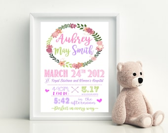 Birth Print | Floral Customised Birth Print | Personalised | Girl | Birth Announcement | Birth Details | Nursery Decor
