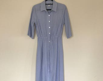 Vintage Baby Blue and White Striped Cotton Dress