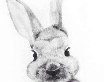 Watercolour Rabbit Print, Watercolour Bunny, Animal Art, Nursery Art, Rabbit Lovers, Ready to Frame