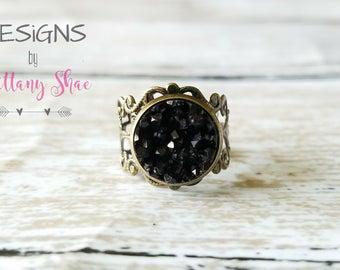 Black Druzy Filigree Ring