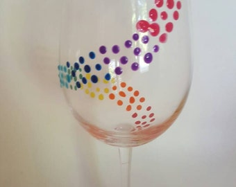 Rainbow Swirl Wine Glass-- Gift For Her-- Gift For Couple-- Unique Gift
