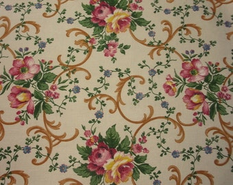 old fabric, pretty flowers, roses, Mia