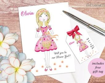 Will you be my Flower Girl Card Flower Girl Gift Personalised Flower Girl Invite Flower Girl Invitation Bridesmaid Invite Flower Girl PDF