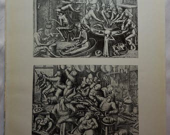 "Lean Fare"" and ""Plentiful Fare"", after Fleming Engravings, Rare, Original Verve,  Fine Art,  Black and White, Vintage Art"