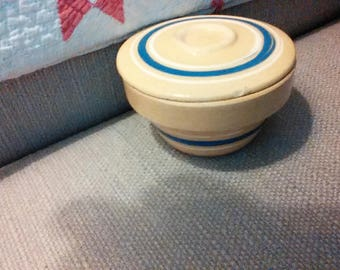 Miniature yellow ware bowl with lid, blue and cream bands