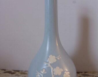 """Vtg England Copeland Spode Vase blue white floral spray Cherry blossom Geisha 8"""""""
