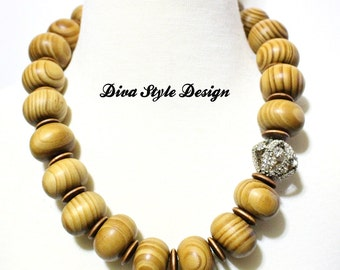 Elegant Wood Necklace with Rhinestones Natural Beautiful Wood