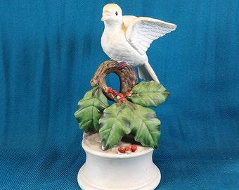 Eda Mann Milano Porcelain Sculpture Christmas Dove Music Box