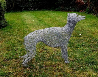 Hand made chicken wire Italian greyhound sculpture