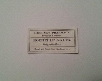 Pharmacy Label - Rochelle Salts Label, Vintage Salt Label, Vintage Pharmacy Label for Bottles, Rochelle Salts, Labels, Vintage Labels