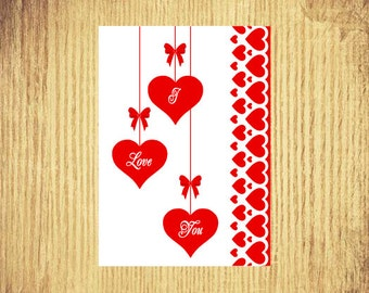 I Love You ~ Valentine Card ~ 5 x 7 ~ Digital Download Only