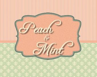 Peach & Mint Banner Set, Mini Banner Set, Shop Banner, Graphic Design, Premade Banner Banner Design, Digital Graphics, Cover Photo,