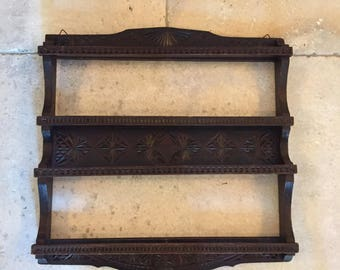 19th Century Hand Carved Black Forest Delft Wall Rack
