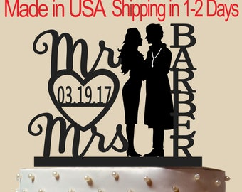 Rare Doctor and Airline Hostess Cake Topper, Wedding Cake Topper,  Bridal Shower Topper, Wedding Decoration, Custom Name, Silhouette,  CT176