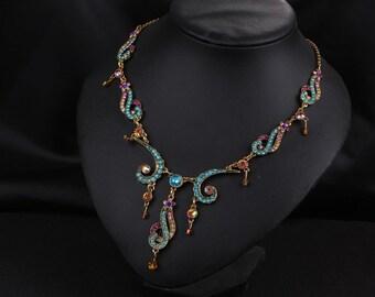New Vintage Multi-Color Crystal Necklace