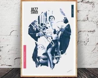 New Orleans - Collage, music, soul, jazz, singer, interior design, vintage, print, home decor, poster, fine art-