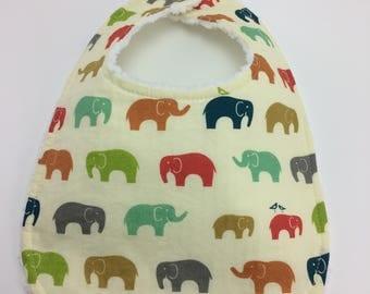 Bib ~ Elephant Bib ~ Safari ~ Birch ELLIE FAM Multi Organic Cotton Bib ~ Gender Neutral ~ Chenille