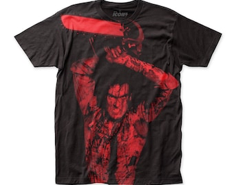 Evil Dead II Ash Williams Soft 30/1 Men's Cotton Subway Tee (SUBED201) Black