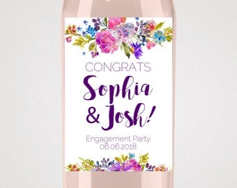 Garden Engagement Wine Label Template: A Purple Printable Engagement Party Favor or Gift for Couple, DIY Instant Download Editable PDF K003