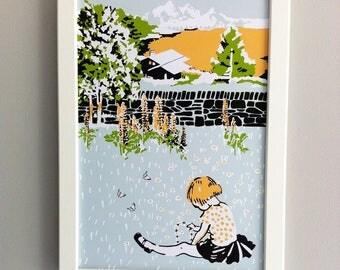 Children's Nursery print, framed Artwork - A4 Heidi, alpine scene