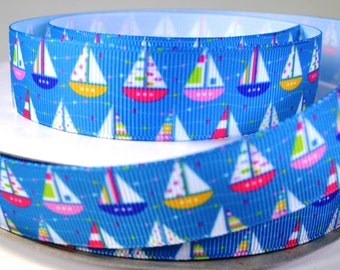 "7/8"" Sail Boats With Colorful Sails - Nautical Grosgrain Ribbon"